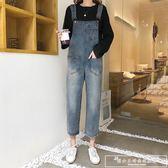港味寬鬆牛仔背帶褲春季新款女裝學院風復古休閒闊腿連體褲子『韓女王』
