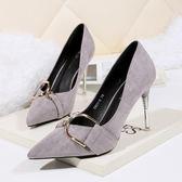 高跟鞋女 細跟高跟鞋 時尚絨面尖頭顯瘦女單鞋性感職業OL韓版女鞋《小師妹》sm3110