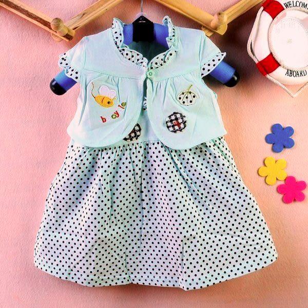 ~童裝CUCU芯衣草~可愛小繡花點點吊帶洋裝裙+小外套套裝(綠)