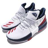 adidas 籃球鞋 Dame 3 J 白 藍 紅 USA配色 Damian Lillard 女鞋 大童鞋 【PUMP306】 BW1101