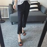 西裝褲 寬鬆直筒褲 休閒黑色OL夏季薄款胖mm 大尺碼九分褲‧衣雅