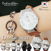 正韓DONBOSCO炫目麗緻典藏質感真皮手錶 對錶【WDB7658】璀璨之星☆