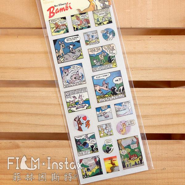 【菲林因斯特】日本進口 迪士尼 小鹿斑比353  透明底手帳 貼紙 卡片 拍立得底片裝飾