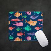 蘿卜粽海洋可愛魚多多防水布面圓形鼠標墊滑鼠墊置物墊防滑鎖邊 qf1259【黑色妹妹】