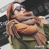 圍巾圍巾女冬季韓版學生兩用百搭秋冬天雙面加厚長款披肩毛線針織圍脖  朵拉朵衣櫥