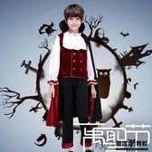 萬聖節 服裝 cos 吸血鬼 伯爵 角色扮演  男孩套裝 僵尸鬼的衣服