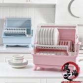 廚房帶蓋雙層碗筷瀝水架收納箱大號放碗盤筷勺置物架翻蓋漏水碗柜【風之海】
