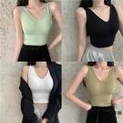 吊帶背心女性感針織打底帶胸墊美背夏季運動短款小可愛【時尚大衣櫥】
