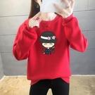 加絨卡通衛衣女2021新款秋冬韓版寬鬆加厚打底衫無帽保暖上衣套頭外套 百分百