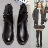 短靴秋冬季新款皮鞋馬丁靴女英倫風平底鞋女靴子百搭棉鞋女鞋 韓小姐