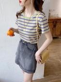 短袖T恤 條紋t恤女ins超火年純棉短袖網紅打底衫夏季內搭短款上衣 韓流時裳