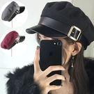 復古皮帶搭釦海軍帽/鴨舌帽 3色【E297456】