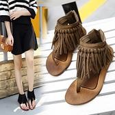 夏季女波西米亞民族風流蘇涼鞋夾腳夾趾平底女鞋后拉鏈羅馬鞋 - 風尚3C