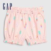 Gap女嬰棉質舒適童趣休閒短褲580452-淺粉色