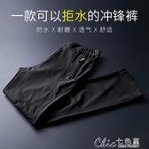 沖鋒褲男春秋單層薄款彈力防水防風軟殼運動褲加大碼戶外登山褲女