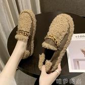 毛毛鞋厚底毛毛鞋女冬季新款外穿瓢網紅懶人一腳蹬羊羔毛豆豆鞋 唯伊時尚