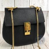 BRAND楓月 CHLOE 黑色 金釦 皮革 DREW 大款鍊包 小圓包 側背包 肩背包