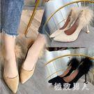大尺碼秋季新款尖頭高跟鞋毛毛鞋女貓跟鞋絨面淺口中跟細跟單鞋女鞋 DN18391【極致男人】