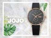 【時間道】NATURALLY JOJO  時尚簡約腕錶禮盒組 / 黑面玫瑰殼黑金米蘭+黑皮帶(JO96953-88R)免運費