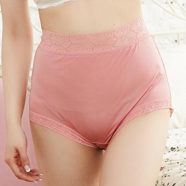 闕蘭絹優雅花瓣蕾絲42針『超高腰』100%蠶絲內褲-88423(粉)