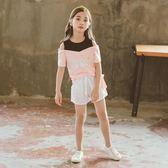 女童T恤大女童夏季短袖時髦衣服露肩韓版新款顯瘦裝女童夏裝套裝 晴天時尚館