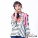 Victoria 草莓圖條紋中長版九分袖T-女
