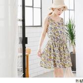 《DA4784》繽紛花朵印花抽腰綁帶高含棉無袖洋裝.2色 OrangeBear