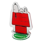 〔小禮堂〕史努比 造型車用塑膠可立夾式告示牌《紅綠.躺屋頂》立牌.名片立夾 4956019-13194
