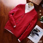 秋季新款男士毛衣v領純色長袖針織衫開衫外套男純棉毛線上衣潮流   潮流前線