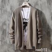 男士針織衫開衫2020秋冬季新款男裝外套韓版潮流日系毛衣個性線衣   (pink Q 時尚女裝)