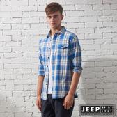 【JEEP】經典百搭格紋長袖襯衫(藍)