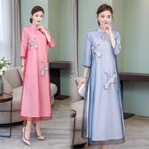 降價兩天 新款女時尚氣質顯瘦名媛中長款中國風女裝改良旗袍式連身裙