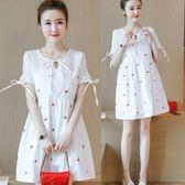 *漂亮小媽咪*韓國 櫻桃 刺繡 布蕾絲 棉麻 清涼 透氣 短袖 洋裝 孕婦裙 孕婦裝 D8032