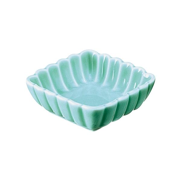 安達窯 青瓷 菊瓣四方醬碟