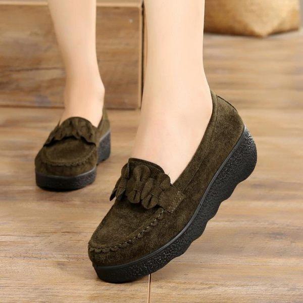 春秋老北京布鞋豆豆女鞋鬆糕厚底厚底楔形中跟淺口黑色女工作單鞋
