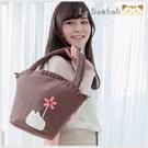 手提包~雅瑪小鋪日系貓咪包 啵啵貓荷葉邊手提包(附贈零錢包)/側背包/拼布包包