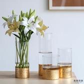 北歐透明玻璃金色花瓶插花水培客廳家居擺件【毒家貨源】