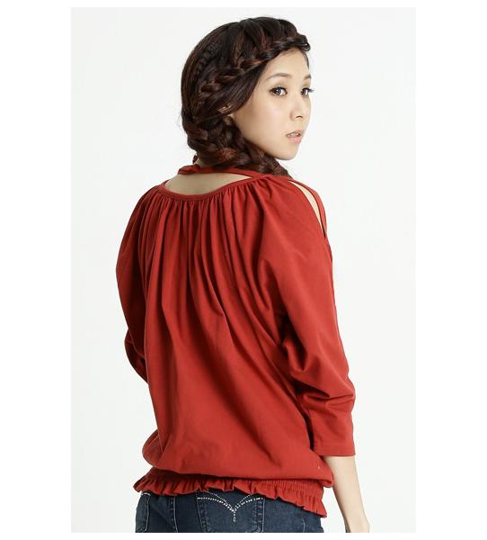 BOBSON 女款露肩抽皺五分連袖上衣(紅31078-27)