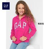 Gap女童 LOGO系列亮片拉鏈長袖連帽休閒外套 180314-莓紫色