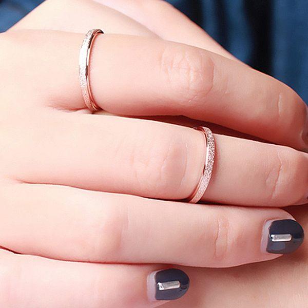 [哈飾奇]韓版戒指/電鍍玫瑰金/磨砂戒指/氣質優雅/簡約穿搭/尾戒/白鋼戒指【HA005】單只價