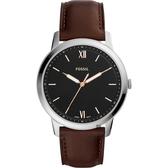 FOSSIL Minimalist 薄型簡約手錶-黑x咖啡/44mm FS5464