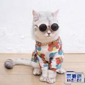 泫雅風貓咪狗狗衣服夏季防掉毛泰迪柯基寵物小花背心【英賽德3C數碼館】