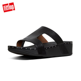 TOP 熱銷美鞋【FitFlop】MARLI H-BAR LEATHER SLIDES H型釘飾涼鞋-女(黑色)