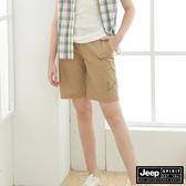 【JEEP】女裝 透氣輕薄五分褲-卡其