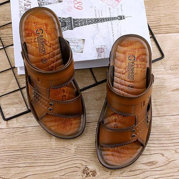 涼鞋 涼鞋 【夏季涼鞋】韓版沙灘時尚透氣涼鞋男軟底涼拖噴油男士涼鞋