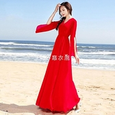 波西米亞夏季長裙2021新款修身顯瘦雪紡連衣裙海邊度假沙灘裙超仙 快速出貨