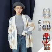 外套 菱格立體羊羔毛拼接寬鬆厚款毛衣罩衫-BAi白媽媽【302186】
