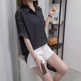 雪紡衫襯衫襯衣L-4XL中大尺碼減齡甜美娃娃領蕾絲襯衫長袖設計感上衣R037.1339皇潮天下