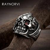 骷髏頭戒指網紅男士復古霸氣食指環鈦鋼 ☸mousika