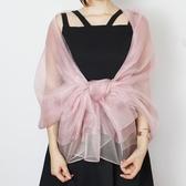 高檔雙層粉色伴娘服旗袍禮服披肩桑蠶絲絲巾真絲圍巾長巾女春夏季Mandyc
